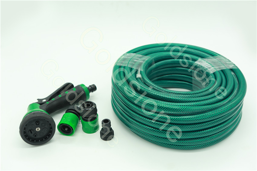 PVC garden hose with spray gun